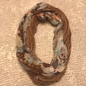Brown and floral infinity scarf